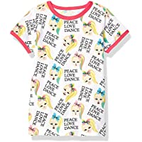 JoJo Siwa Girls Peace Love Dance All Over Print Ringer Tee Short Sleeve T-Shirt - White