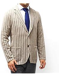 (ラルディーニ)LARDINIストライプ織り ニットジャケット【ベージュ×ブラウン】EELJM22 EE50003 210 [並行輸入品]