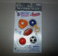 Scribble Stuff - 5 Puzzle Erasers - Sports Themed