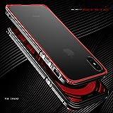 MQman 新作 iphoneX アルミバンパー ケース ねじ留め式 iphone X メタルフレーム 2点セット 透明バックプレート アイフォンX 赤色背面パネルカバー ストラップホール付き 軽量 薄型 金属人気合金 かっこいい 洒落 (iphoneX, 黒赤+透明プレート)