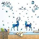 AWHAO ウォールステッカー クリスマス 飾り 大きい シール式 壁 シール 壁紙 雑貨 ガラス 窓 DIY ブルー 店舗装飾にぴったり トナカイ柄 A