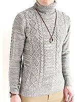 (オークランド) Oakland ケーブル編み フィッシャーマンズ タートルネック 起毛 ニット セーター ナチュラル 細身 タイトシルエット カジュアル メンズ