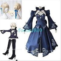 Fate/Grand Order FGO セイバーオルタ ドレス ワンピース saber コスプレ衣装 +wig+ 靴 (女S/M/L/XL)
