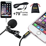 Lavalierラペルマイクomnnidirectional Condenser Mic with Clip Onシステムfor iPhone iPad Android Windowsスマートフォン録画Youtube面接ポッドキャストAsmr
