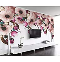 Wuyyii 3Dの壁紙の壁画アメリカの手描きのバラの花の花つるモダンなリビングルームのベッドルームテレビの背景の壁紙