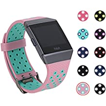 Fitbit Ionic Bands, mtsugar Two-color Compression Breathable Replacement Wristband for Fitbit Ionic Bands, Buckle, 10 Colors