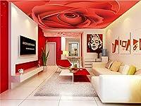 Bzbhart 注文の天井の壁紙、居間の寝室の天井の壁の防水壁紙のための赤いバラの壁画-250cmx175cm