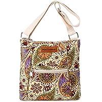 Malirona Women Crossbody Purse Hipster Cross Body Bag Canvas Shoulder Handbag Floral Design