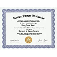 Bungee Jumping Degree: Custom Gag Diploma Doctorate Certificate (Funny Customized Joke Gift - Novelty Item) by GD Novelty Items [並行輸入品]