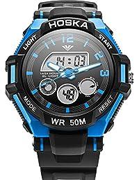 子供用腕時計 アナログ表示 キーズ ウォッチ アラーム ストップウォッチ 曜日 日付表示 男の子 女の子 兼用 アウトドア (ブルー)
