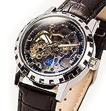 E-seven(イーセブン) 腕時計 メンズ 手巻き 機械式 スケルトン レザー tskl (ブラック×ゴールド)