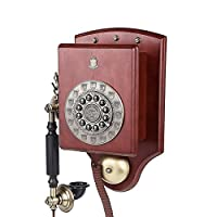 Mobeka 昔ながらのプッシュボタンロータリーウォールマウント電話昔ながらのヨーロッパスタイルの牧歌的な壁掛け電話家庭用電話