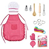 Palmula Kids Chef Cookware Set 14pcs Kitchen Baking Tools with Apron Children Role Play Costume Accessory Kits,Cooking and Baking Set Dress Up Chef Costume Age 3+ (Pink)