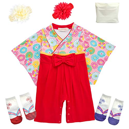 75975060877c6 ギフトバッグ付き 巫女服風デザイン ベビー用ロンパース 靴下2足 ヘアバンド付き(花柄70cm)