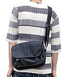 (m.j.c.o) メンズ レディース シック シンプル デザイン レザー メッセンジャーバッグ 斜めがけバッグ 大容量 ブラック ブラウン (ブラック)