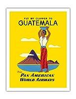 ガテマラまではクリッパーで - インドの地元女性、パカヤ火山 - パン・アメリカン航空経由 - ビンテージな航空会社のポスター c.1950s - アートポスター - 51cm x 66cm
