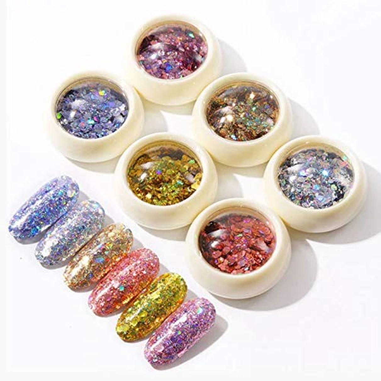 溶かす珍しい植物のサリーの店 派手な6つのロードされた釘Sequinsアイ化粧Sequins(02)