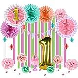 1歳誕生日飾り付けセット【数字バルーン ケーキトッパー ペーパーファン ガーランド ポンポンフラワー ハニカムボール】バースデー ベビーシャワー 装飾 Easy Joy (ピンク)