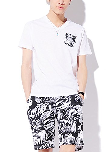 ブラック L (ベストマート)BestMart 2点セット 上下 ポケット 花柄 Tシャツ ミニ裏毛 ショートパンツ メンズ ボタニカル カットソー 半袖 Vネック ショーツ ショート パンツ ショーパン 半ズボン ハーフパンツ プリント 622402-006-001