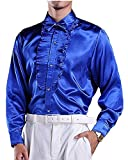 ds5095 メンズ 男性用 シャツ ワイシャツ Yシャツ ドレスシャツ ステージ シャイニー 光沢 フリル ブルー(39)