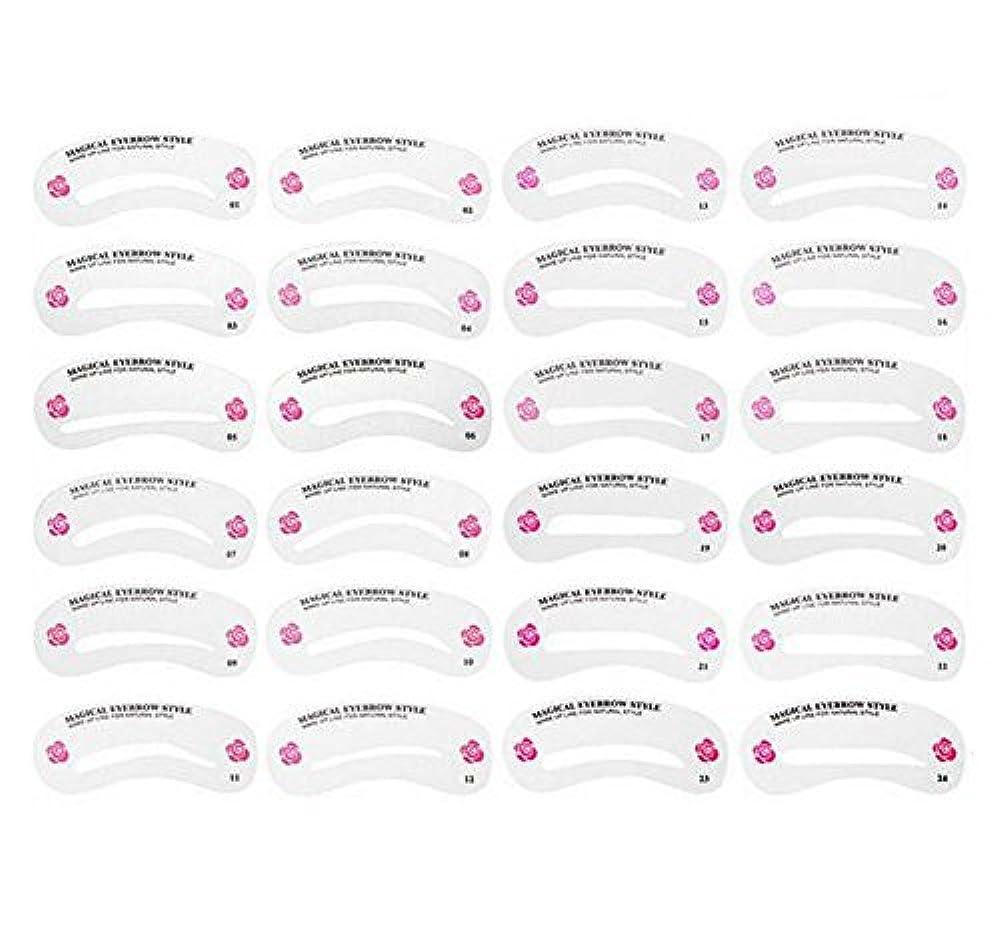 母性脇にスリンク24PCS 眉毛ステンシル眉毛グルーミングステンシルカードキットソフトマジック簡単メイクシェーピングテンプレートDIY美容女性女の子のためのツールとレディース-24スタイル