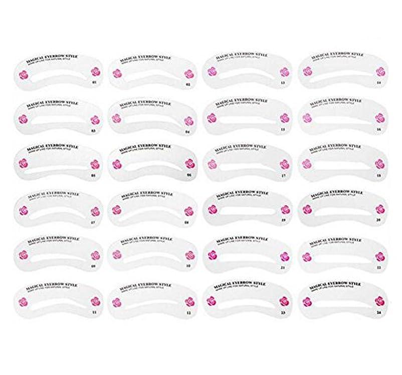 レルム廃棄するクレジット24PCS 眉毛ステンシル眉毛グルーミングステンシルカードキットソフトマジック簡単メイクシェーピングテンプレートDIY美容女性女の子のためのツールとレディース-24スタイル