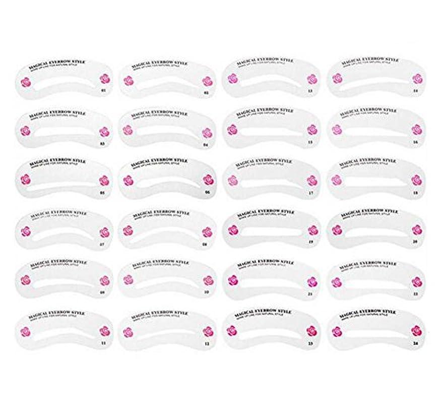 西部記念シチリア24PCS 眉毛ステンシル眉毛グルーミングステンシルカードキットソフトマジック簡単メイクシェーピングテンプレートDIY美容女性女の子のためのツールとレディース-24スタイル