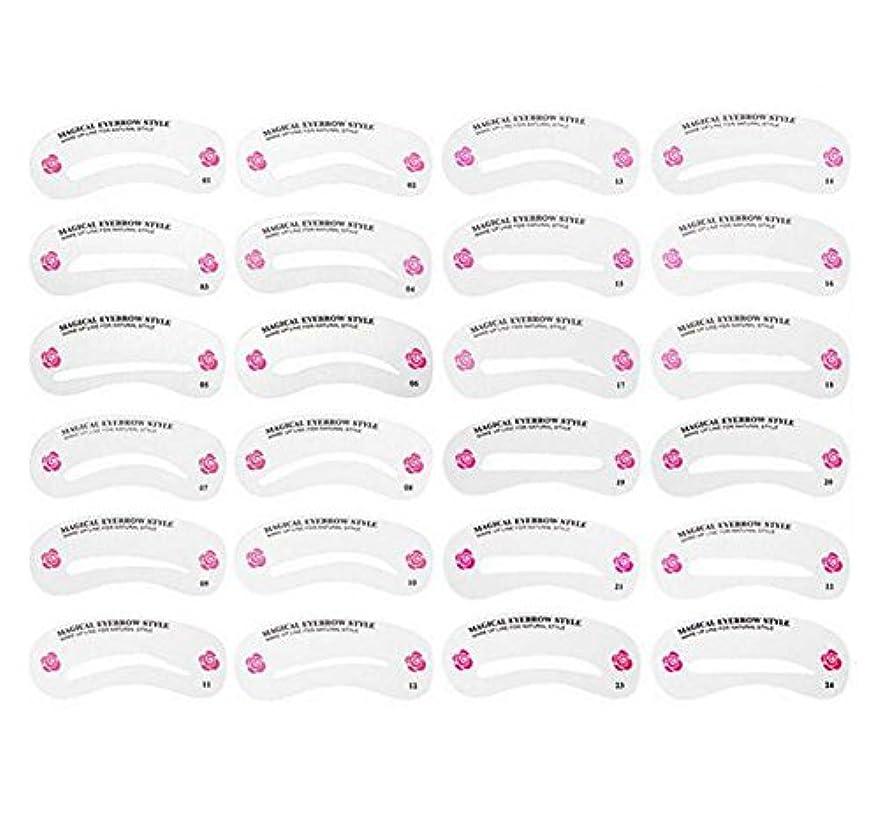 狂信者高く上24PCS 眉毛ステンシル眉毛グルーミングステンシルカードキットソフトマジック簡単メイクシェーピングテンプレートDIY美容女性女の子のためのツールとレディース-24スタイル