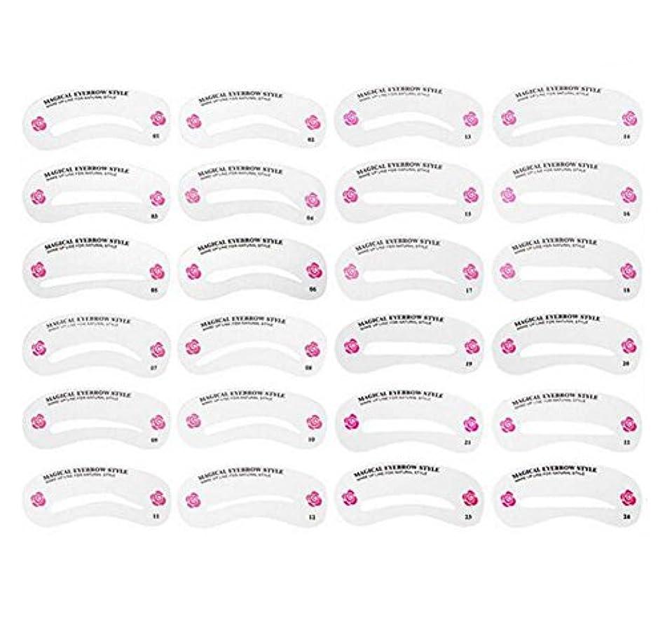 落ち着いて免疫する照らす24PCS 眉毛ステンシル眉毛グルーミングステンシルカードキットソフトマジック簡単メイクシェーピングテンプレートDIY美容女性女の子のためのツールとレディース-24スタイル