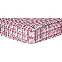 トレンドラボベビーベッドシート、ピンク格子柄