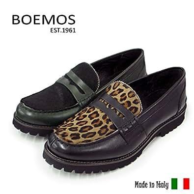 【BOEMOS/ボエモス】レディース レザー×ハラコ ローファー・フラットシューズ イタリア製 【8336】