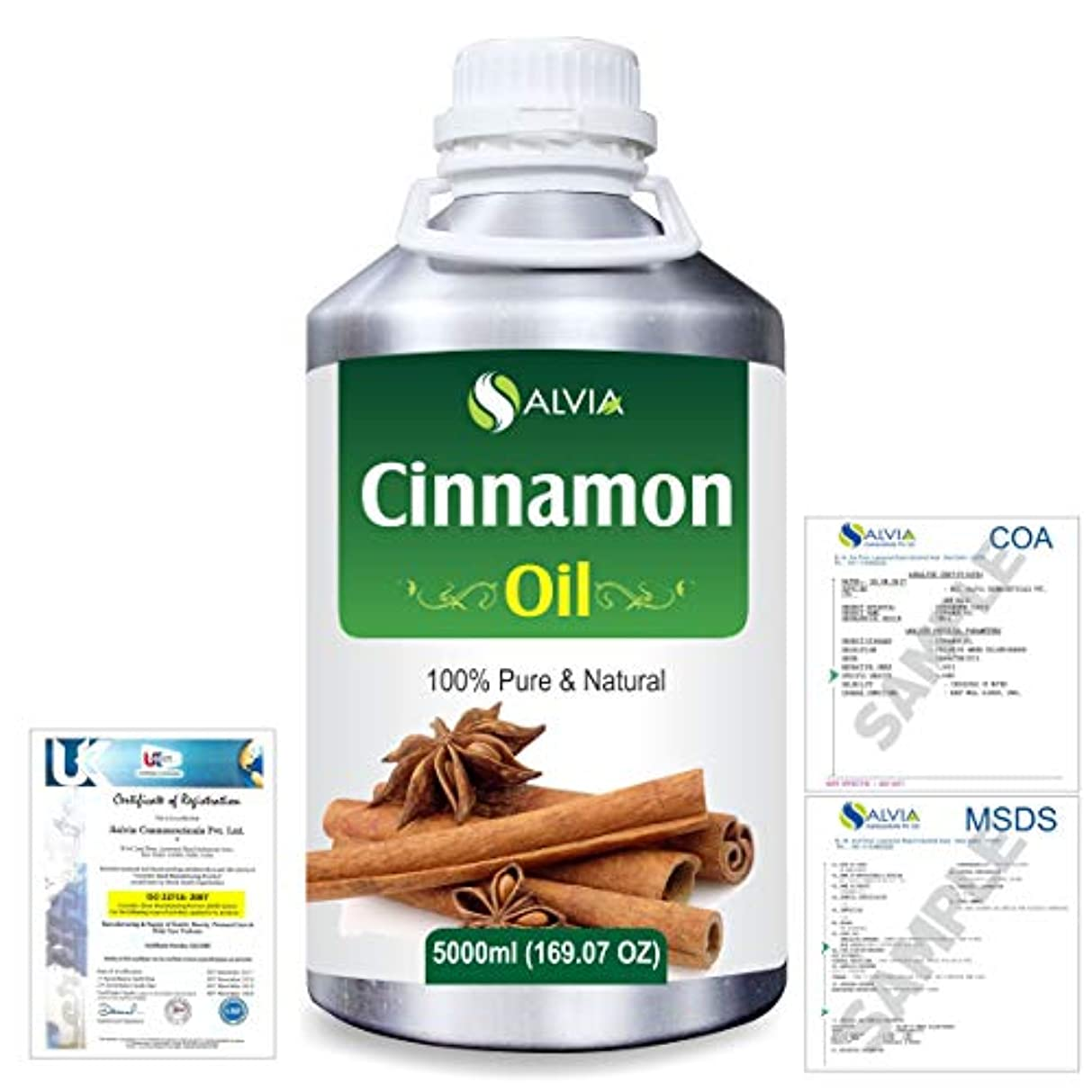 パターン呪い不規則性Cinnamon (Cinnamomum Cassia) 100% Natural Pure Essential Oil 5000ml/169fl.oz.