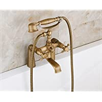 Peacefre 銅スタイルのヨーロピアンスタイルの浴槽の蛇口アンティークシャワー浴槽シャワーノズル