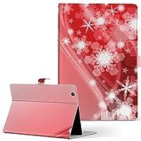 HUAWEI MediaPad M3 Huawei ファーウェイ メディアパッド タブレット 手帳型 タブレットケース タブレットカバー カバー レザー ケース 手帳タイプ フリップ ダイアリー 二つ折り ラグジュアリー 雪 結晶 赤 レッド m3-005630-tb