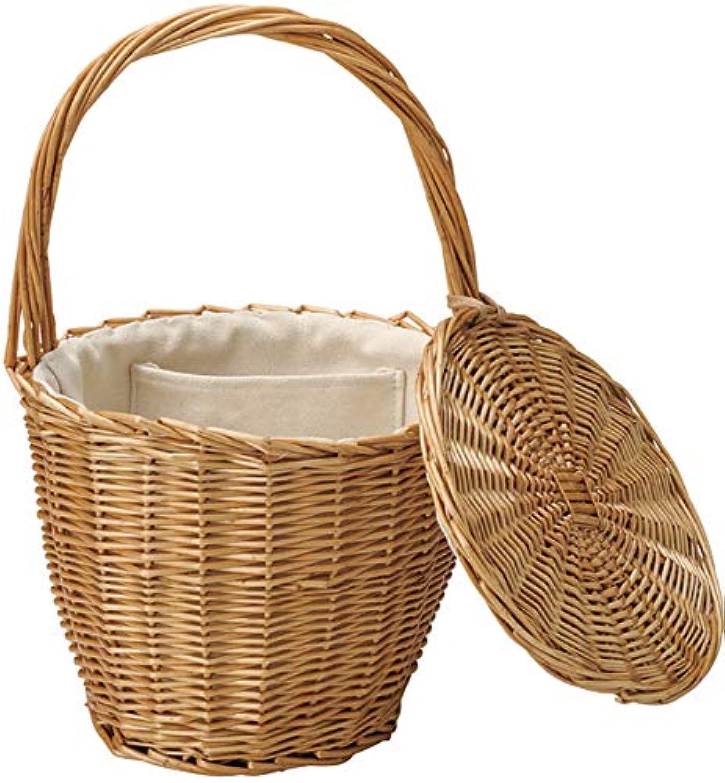 『煮柳』蓋?布付きバスケットバッグ「21×19cm」