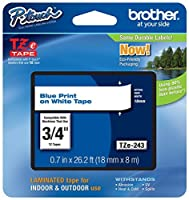 Genuine Brother 3/4 (18mm) Blue on White TZe P-touch Tape for Brother PT-300 PT300 Label Maker [並行輸入品]