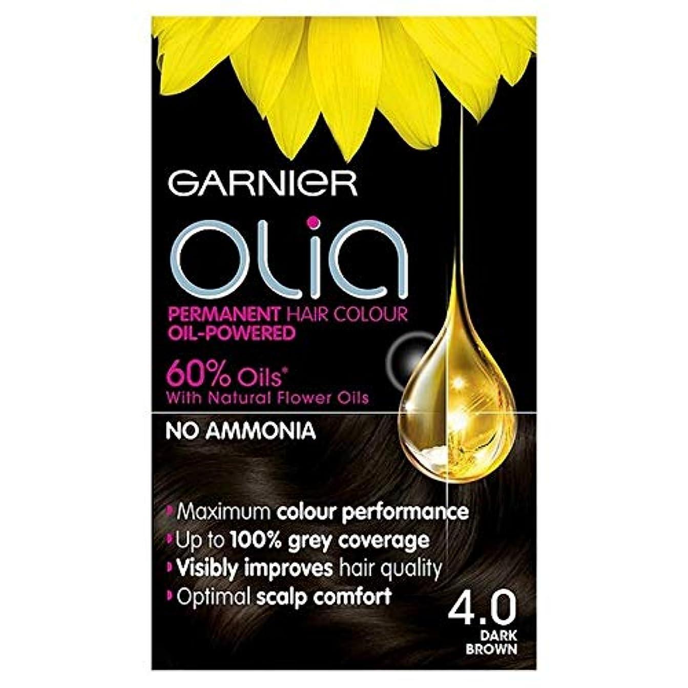 言語語強調[Garnier ] 4.0ダークブラウン永久染毛剤Oliaガルニエ - Garnier Olia 4.0 Dark Brown Permanent Hair Dye [並行輸入品]