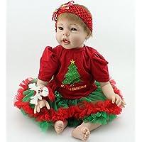 Poseable Rebornベビー人形LifelikeサンタGirl Forクリスマスギフトホーム装飾、22インチ