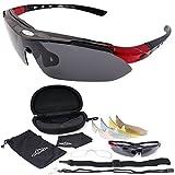 DABADA(ダバダ) スポーツ サングラス 超軽量 偏光レンズ 交換レンズ5枚セット 99.9%UVカット 花粉 粉塵 対策 メンズ レディース ロードバイク 専用ポーチ付き 車 ドライブ 釣り 野球 テニス ゴルフ ランニング スキー スノボー
