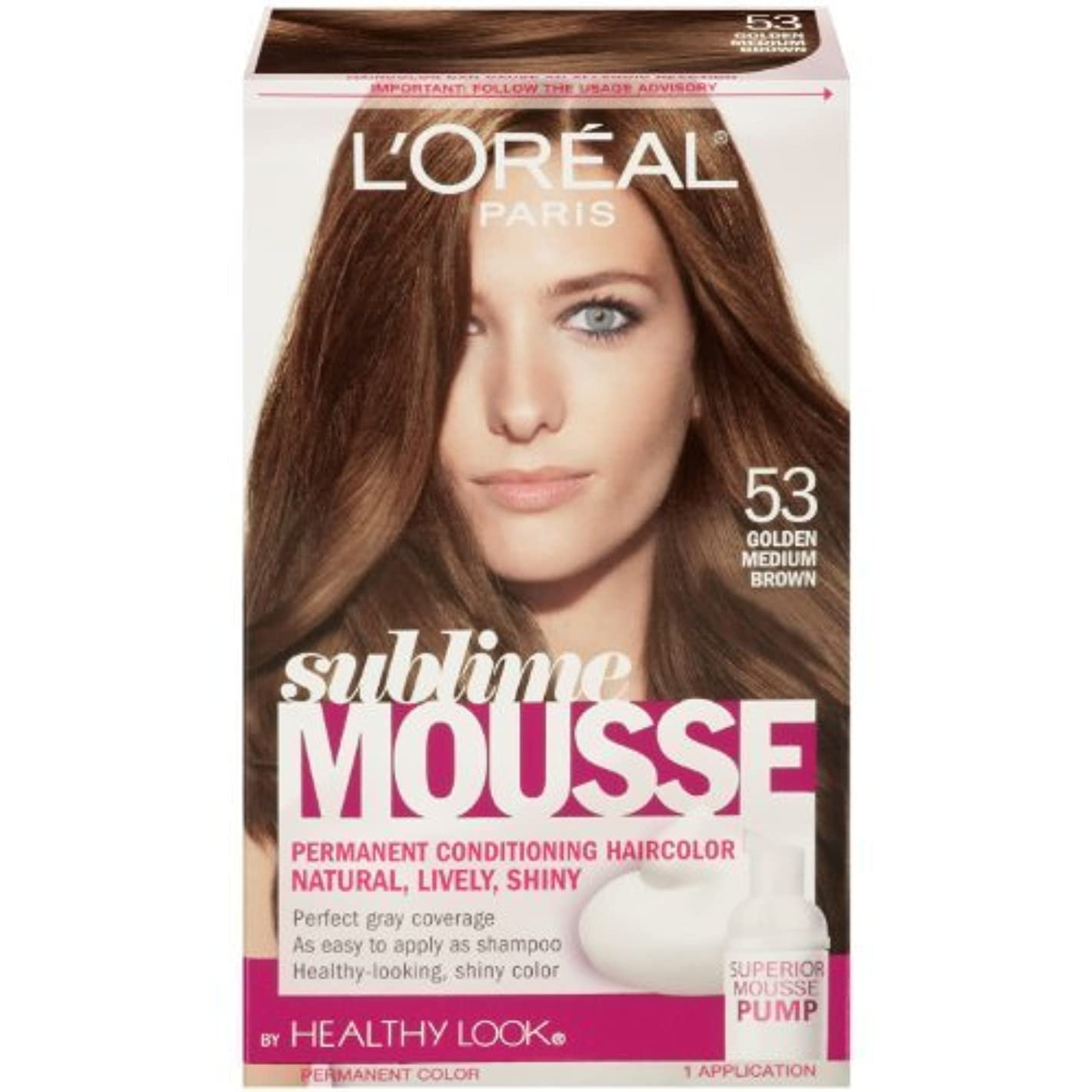 謎分岐するスーパーL'Oreal Paris Sublime Mousse by Healthy Look Hair Color, 53 Golden Medium Brown by SUBLIME MOUSSE [並行輸入品]