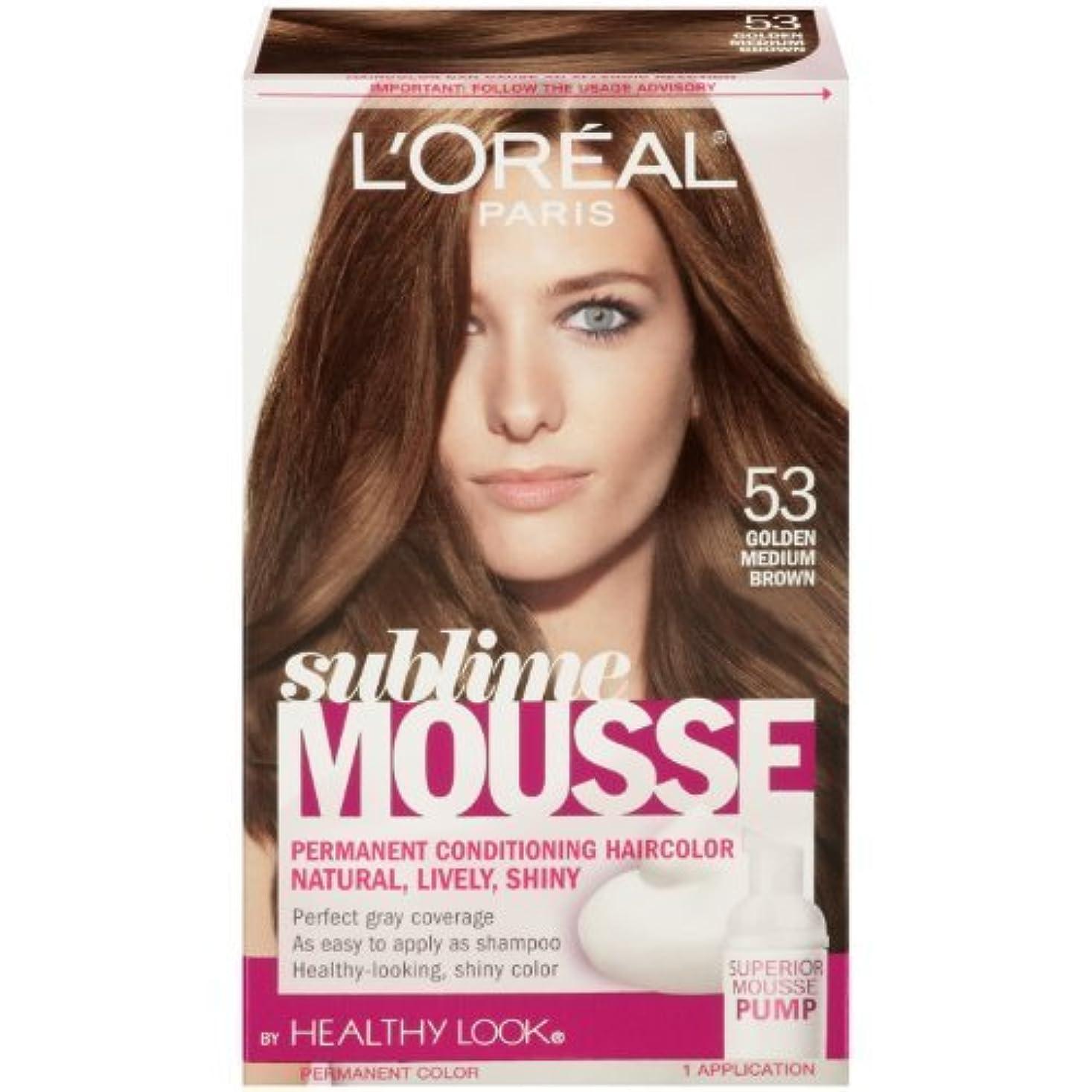 赤道ビリーアカウントL'Oreal Paris Sublime Mousse by Healthy Look Hair Color, 53 Golden Medium Brown by SUBLIME MOUSSE [並行輸入品]