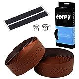 EMPT(イーエムピーティー) EVA ロード用 バーテープ ES-JHT020 クッション製に優れたEVA製バーテープ ロード ピスト ドロップハンドルバーテープ ※エンドキャップ、エンドテープ付属 (レザー調PU茶(ブラウン))