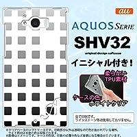 SHV32 スマホケース AQUOS SERIE カバー アクオス セリエ ソフトケース イニシャル スクエア 黒 nk-shv32-tp1365ini S