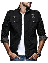 maweisong 男のミリタリースタイルのフロントジップロングスリーブボンバージャケット