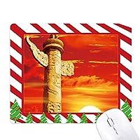 赤い太陽の空の観賞用のカラムの中国 ゴムクリスマスキャンディマウスパッド