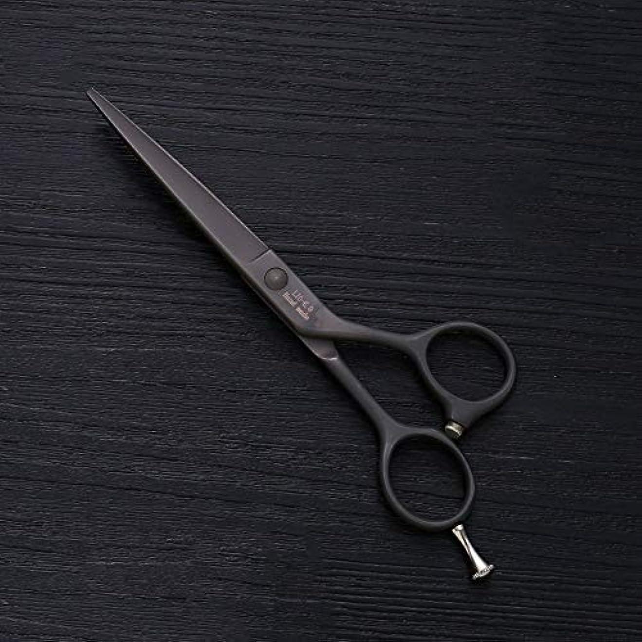 なので無傷天6インチの美容院の専門のヘアカットの毛、ステンレス鋼の理髪の平らなせん断 ヘアケア (色 : 黒)
