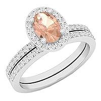 10Kホワイトゴールドオーバルジェムストーン&ラウンドホワイトダイヤモンドレディースブライダルヘイロー婚約リングセット