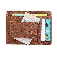 [boshiho] マネークリップ メンズ IDカード入れ 磁石 コルク 財布 カードケース 軽い ビジネス ベルト通し 花柄 三種類 (ブラウン)