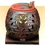 常滑焼 創器 石龍窯 茶香炉 タデ花 焼杉板付 径:11cm 高さ:11cm  サ09-12