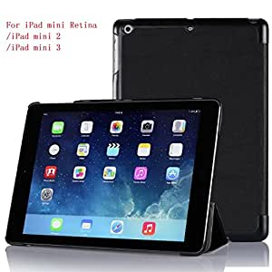 【全5色】IVSO オリジナルApple iPad Mini 3(2014) (Apple iPad Mini 3(2014) だけ 適用) 専用スマートケース 超薄型 最軽量 (ブラック)